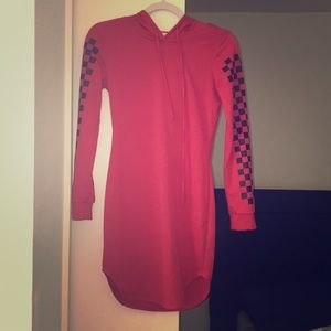 Black and red hoodie dress